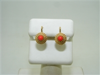 18k yellow gold red coral