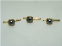14k yellow gold square cabochon 3 set shirt studs