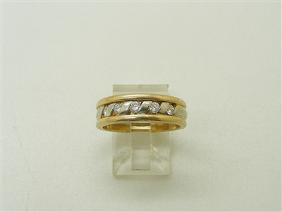 14K 2 Tone Yellow & White Band Diamond Ring