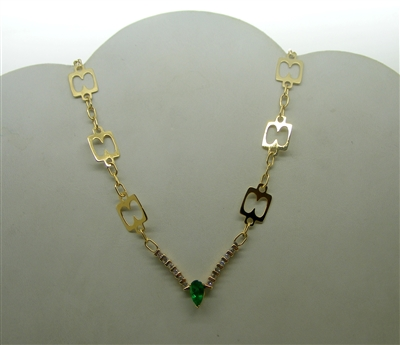 """V"" Shaped 18k Yellow Gold Colombian Pear Shape Emerald Necklace"