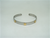 18k white gold and stainless steel screw designed bangle