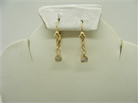14k yellow gold lever back diamond hanging earrings