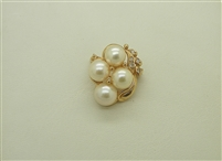 14k Yellow Gold Diamond & Cultured Pearl Enhancer