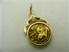 24k (999) yellow gold double sided Chinese pendant