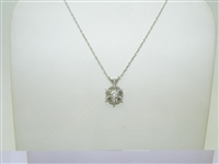 14k White Gold Diamond Star 6 Prong Pendant