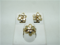 18k yellow and white gold flower ring and earring set