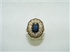 Vintage diamond & natural blue sapphire ring