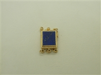 14k Yellow Gold Lapis Lazuli Rectangle Pearl Clasp