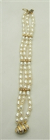 3 Row Fresh Water Pearls 14k Yellow Gold & Diamond Bracelet