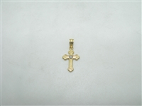 14k yellow gold diamond baby cross pendant