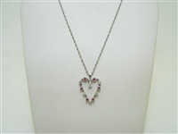 Diamond & ruby heart shape pendant with chain