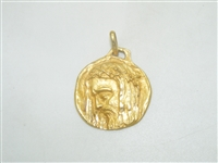 18k Yellow Gold Jesus Pendant