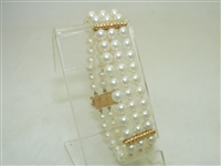 Gorgeous 14k Yellow Gold Cultured Pearl Bracelet