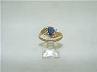 10k yellow gold blue sapphire with diamonds
