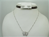 14k white gold butterfly diamond earring and necklace set