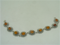 Sterling Silver (925)  bracelet with Amber stones