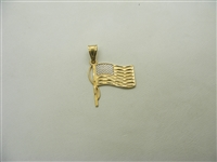 """God Bless America"" 14k Yellow Gold Flag Charm"