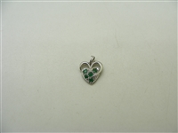 14k White Natural Emerald Heart Pendant