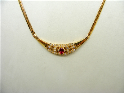 """Oval"" Shaped 14k Yellow Gold Herribone Diamonds & Ruby Necklace"