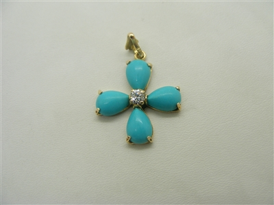 14 K Yellow Gold Pear Shape Turquoise pendant