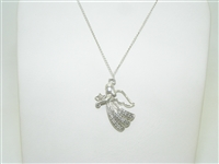 14K White Gold Diamond Angel Pendant