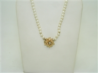 14k yellow gold flower white cultured graduate pearl