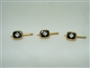 14k yellow diamond and onyx 3 set shirt studs