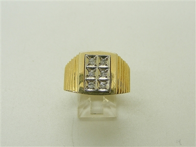 14K 2 Tone Yellow & White Gold Mens Diamond Ring