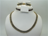 Gold and onyx beads necklace & bracelet set