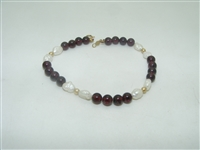14k yellow gold garnet beads and fresh water pearls bracelet