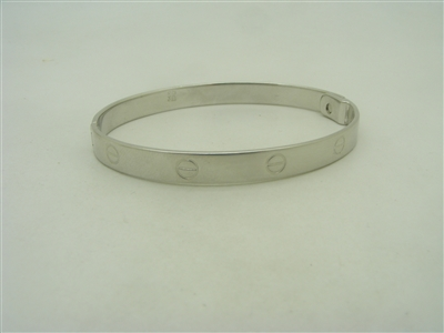 14k white gold screw designed bangle