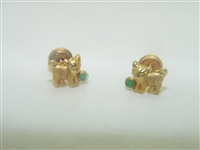 18k Yellow Gold Kitten Emerald Earrings
