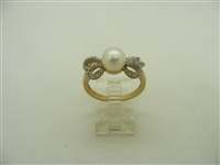 14k yellow gold diamond bow white culture pearl ring