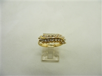 Two Row 14k Yellow Gold Ladies Ring