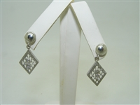 Vintage 14k white gold diamond earrings