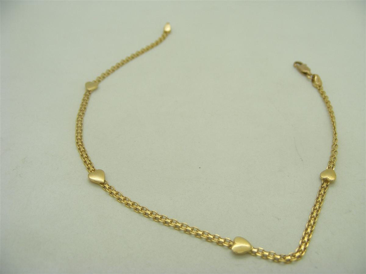 yellow bracelets gold figaro fine anklet bracelet anklets solid royal link ankle real pin