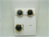 Cabochon onyx diamond earrings and ring set