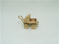 Vintage 14k yellow gold baby carriage charm