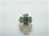 Vintage 14k white gold diamond and emerald ring