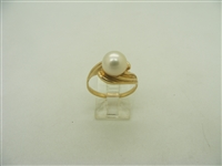 14k yellow gold white culture pearl