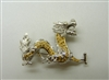 Chinese Dragon 18k White Gold Pin & Pendant with Yellow Diamonds