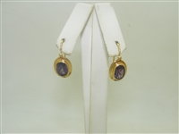 18k Yellow Gold Oval Amethyst Leverback earrings