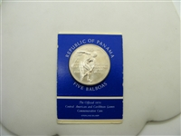 1970 Panama 5 Balboas Sterling Silver Coin