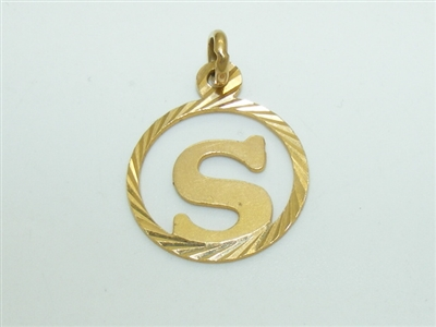 """S"" Initial 18k yellow Gold Pendant"