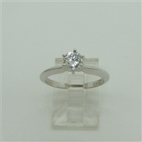 6 Prong Diamond Engagement Ring (14 K White Gold)