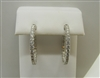 14k White Gold Once Inch Diamond Hoop Earrings