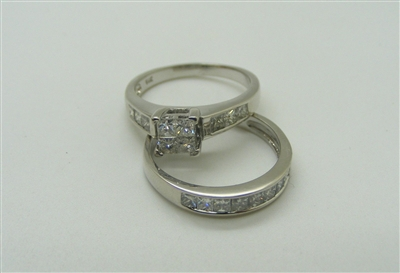 A Beautiful Princess Cut Two Piece Engagement Ring Set.