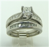 WOMEN'S 14 KT WHITE GOLD DIAMOND PRINCESS CUT ENGAGEMENT RING