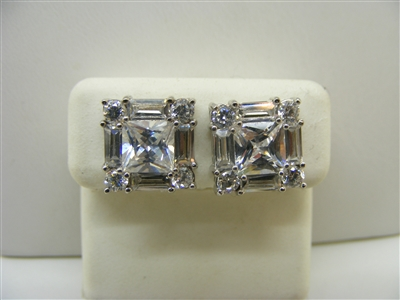 10K White Gold Square Shaped CZ Earrings