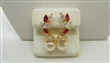 14k Yellow Gold Pearl Ruby & Diamond Hanging Earrings